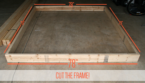 cut your front and back 26s to 78 and your sides to 79 - Diy King Size Bed Frame