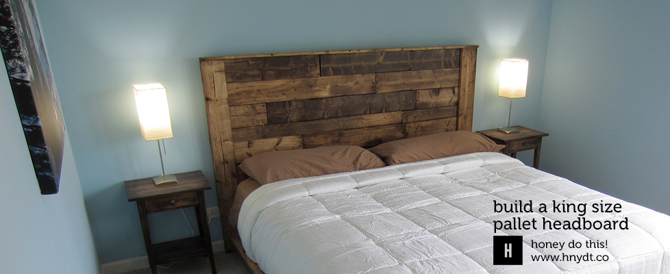 Build a king sized pallet headboard diywithrick - How to make a bed headboard ...