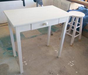 So a desk, DIY chalk paint and a $15 stool walk into a bar…