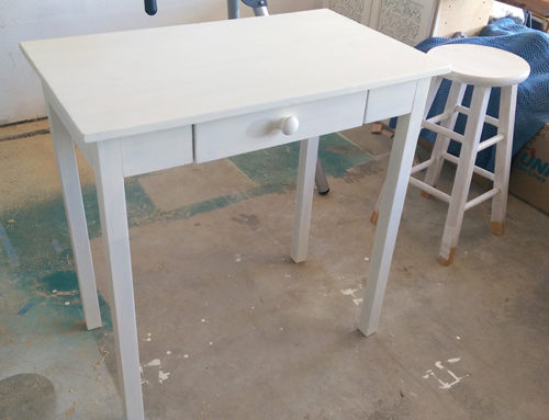 So a desk, DIY chalk paint and a $15 stool walk into a bar…