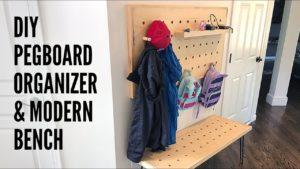 DIY Pegboard Organizer and Modern Bench